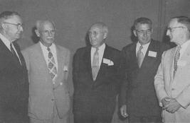 Honored at Annual Meeting of the Potato Association of America. Left to right: John Bacon, President Muncie, Stanley G. Peppin, F. A. Krantz and E. L. Newdick.
