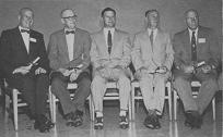 Recipients of Honorary Life Memberships at The Potato Association of America's Annual Meeting at East Lansing, Michigan, September 6, 1955 with Arthur Hawkins, retiring president, center. Left to right: A. E. Mercker, W. C. Edmundson, Hawkins, J. W. Scannell and K. H. Fernow.