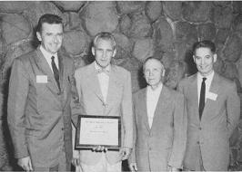 President Paul Eastman and recipients of Honorary Life Memberships Russell Larson, Ben Picha, and Ora Smith, respectively.